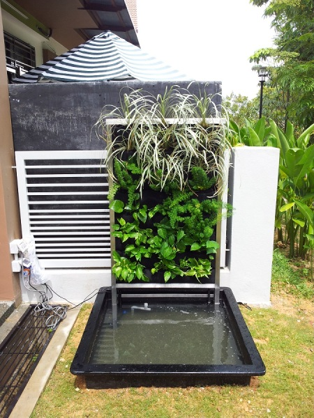 Vertical Garden and Pond by Green On Wall